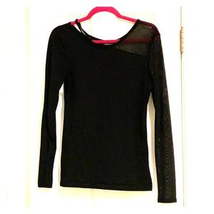 Black with Mesh Sleeve Fabletics Shirt